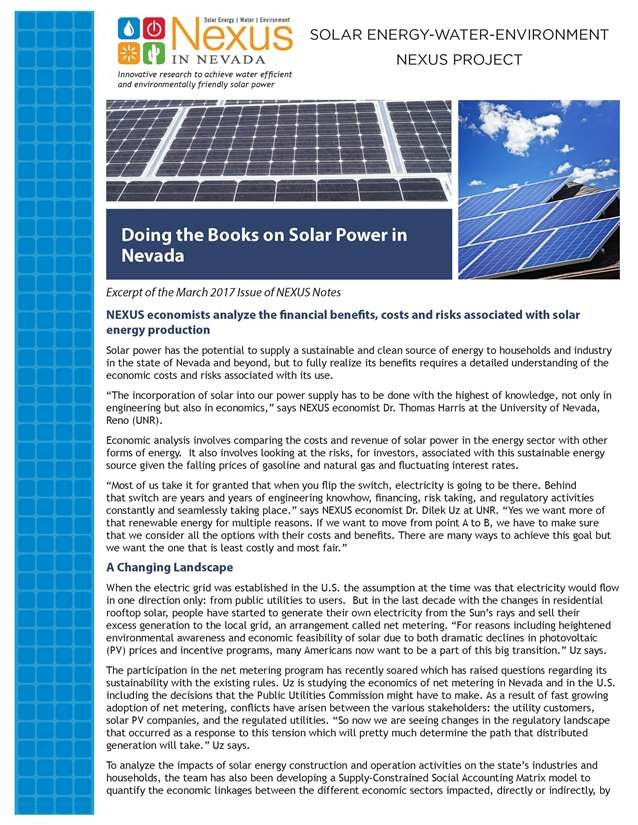 Doing the Books on Solar Power in Nevada