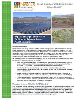 Impacts of Large Scale Solar PV Facilities on Adjacent Desert Plant Communities Handout
