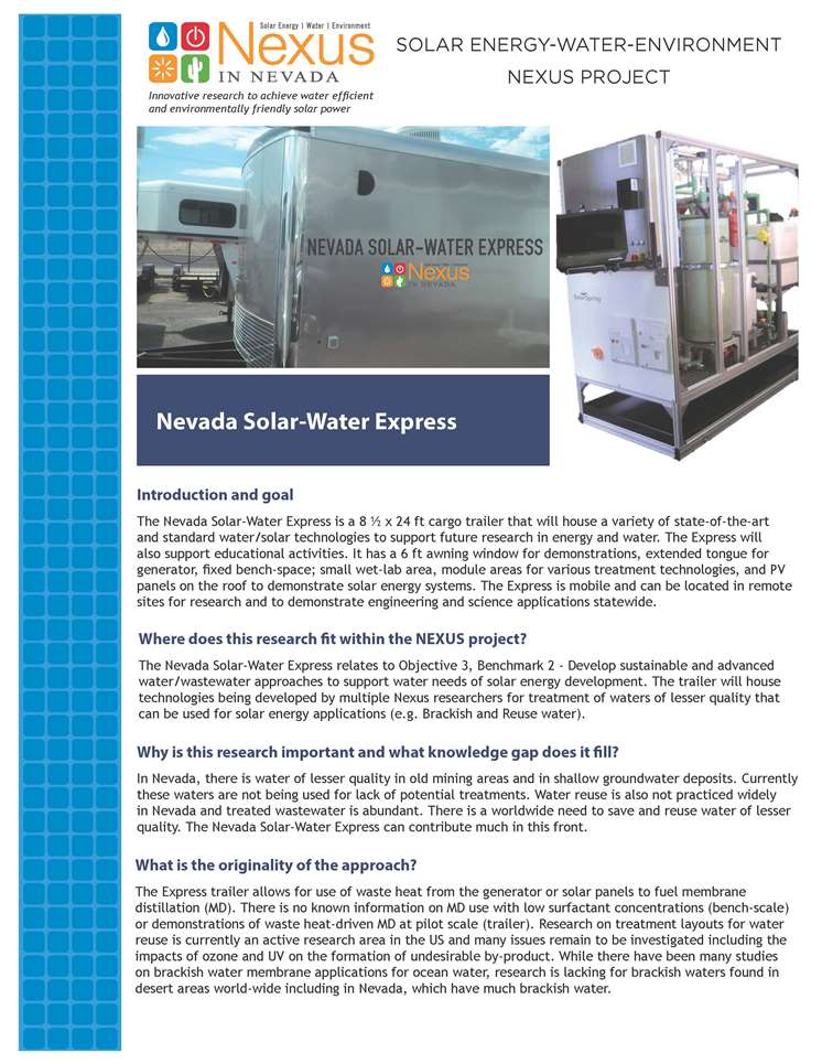 Nevada Solar-Water Express Handout