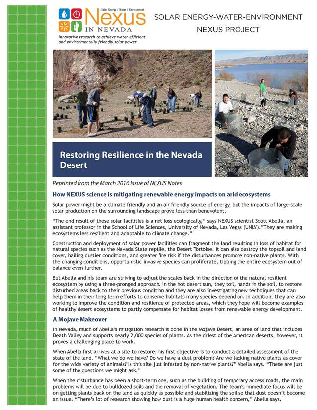 Restoring Resilience in the Nevada Desert Handout