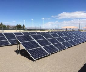 Rows of Solar panels within a large suburban lot