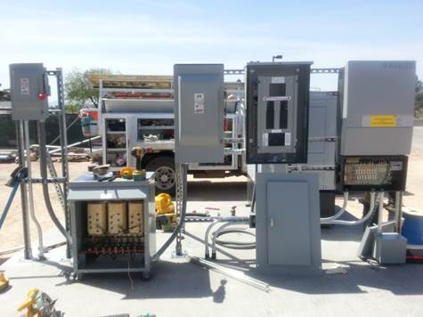A collection of electrical control boxes and terminals, an example of a microgrid