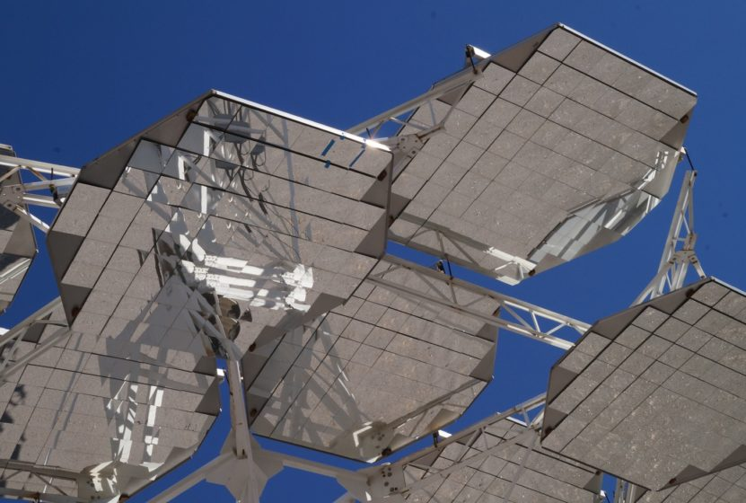 Solar panels viewed from below