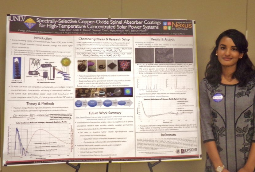 Undergraduate student researcher Cilla Jose wins first place in a poster competition