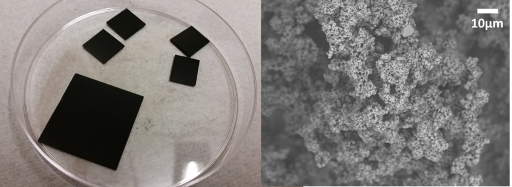 The completed synthesis produces solar absorber coating materials onto testable substrates