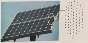 A diagram demonstrating the placement of an array of nanoparticles on a solar panel