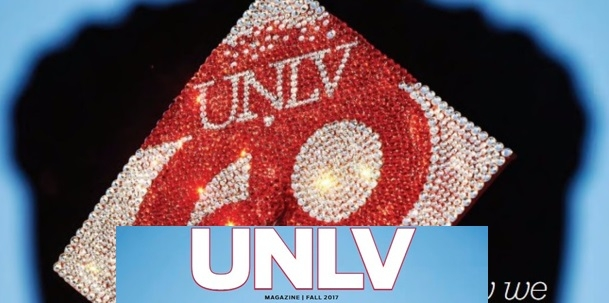 A graduation cap decorated with scarlet and gray sequins which spell out 'UNLV 60'