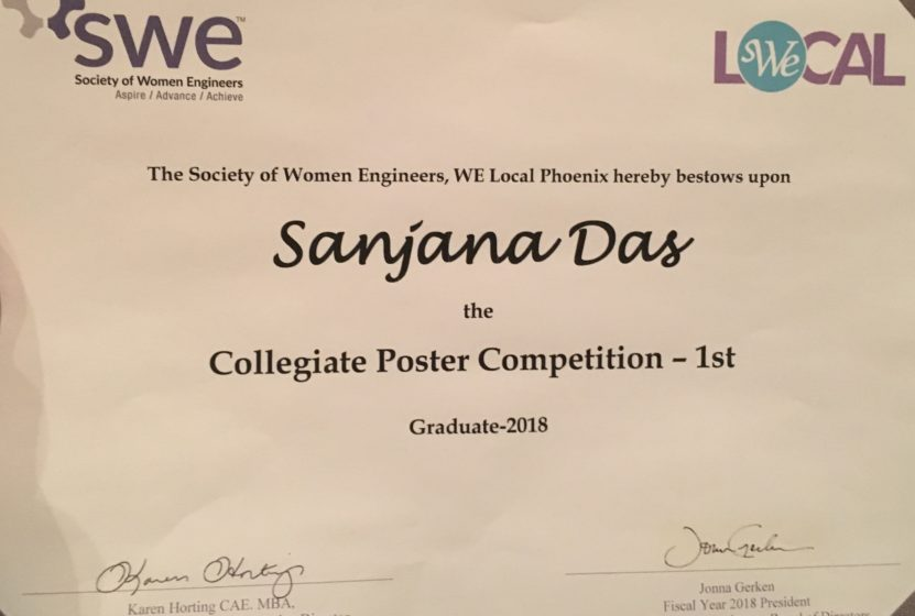 A 1st place certificate from the Society of Women Engineers presented to Sanjana Das