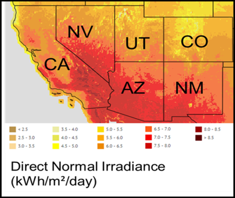 A color coded map of the American southwest that illustrates the high concentration of solar irradiance in California, Nevada, and Arizona