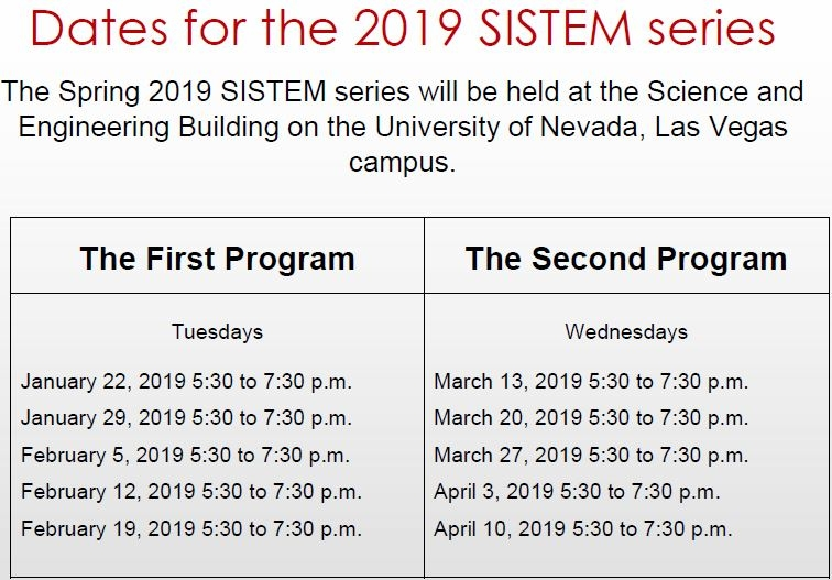 Dates for 2019 SISTEM Series